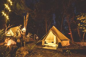 bell-tents-candles-night-woodland
