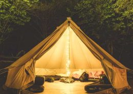 bell-tent-camping-woodland-candle-light