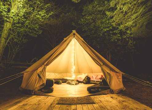 bell-tent-camping-woodland-fairylights-night